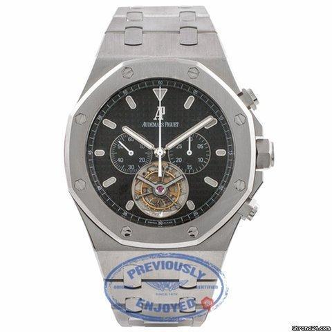 Audemars Piguet Royal Oak Tourbillion Black Dial Chronograph Mens Watch