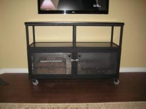 Audio Video Cart Cabinet W Wheels Heavy Duty Made In
