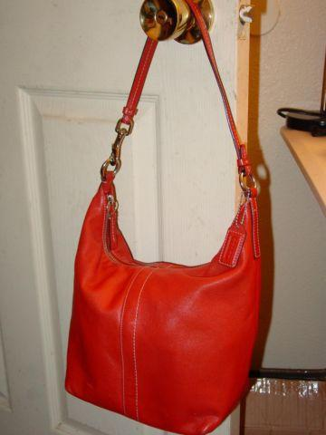 Authentic Coach Hobo Style Handbag Purse In Red Leather