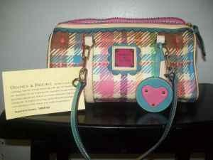dooney and bourke pink/blue plaid purse** - (osu campus for sale