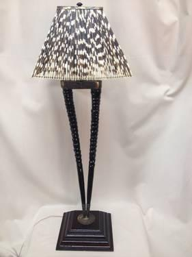 Authentic Gemsbok Horn Table Lamp W Porcupine Quill Shade