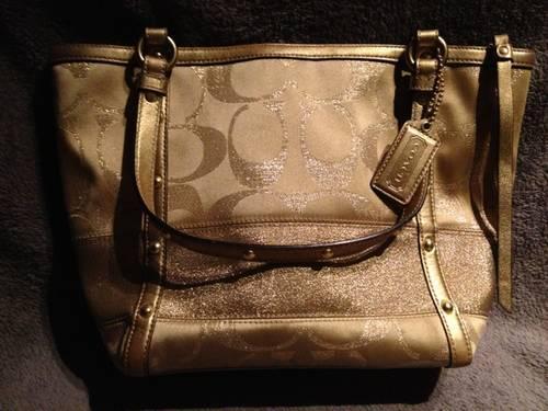 Authentic Gold Coach Classic Signature Stripe Handbag