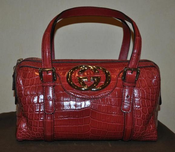 Authentic New Womens Gucci Runway RARE Red Full Crocodile Boston Bag
