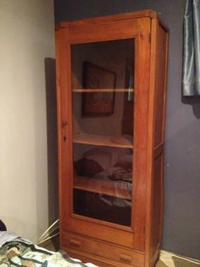 Authentic Teak Teakwood Display cabinet glass front ...