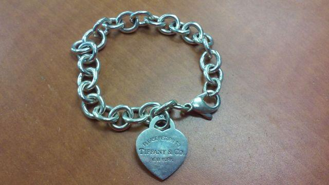 fa879af70 Authentic Tiffany and Co. Sterling Silver Heart Tag Charm Bracelet w ...