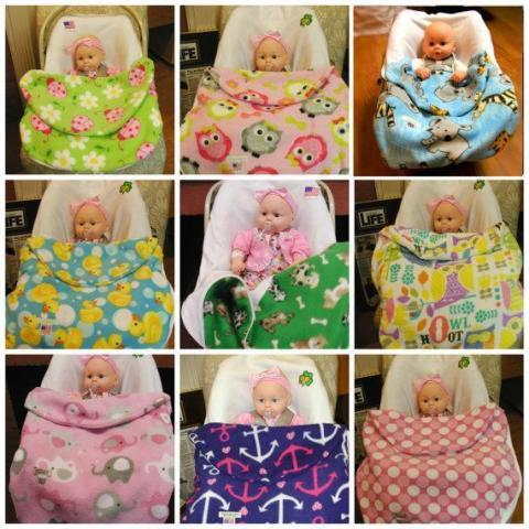 Baby Cuddles Handmade Fleece Car Seat Cover And Blanket New For