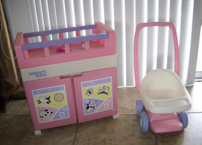 Baby Doll Crib With Bathing Tub Inside And Stroller