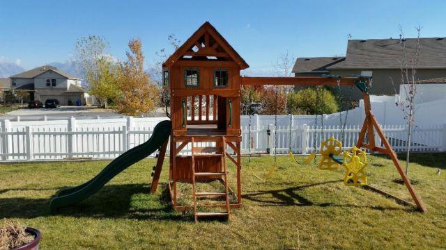 Backyard Swing Set Wood Gym Playhouse Kids Outdoor
