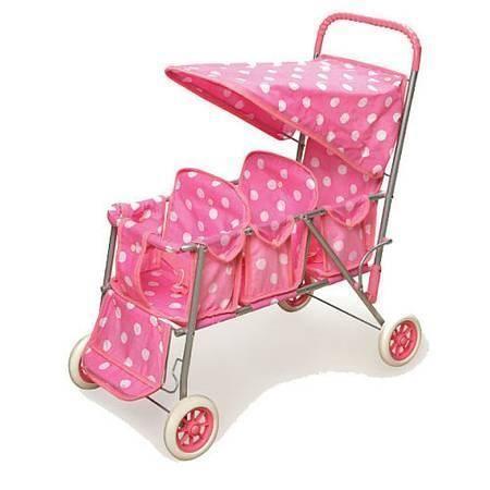 Badger Basket Pink Polka Dot Triple Doll Stroller