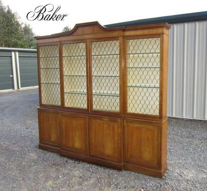 Baker Inlaid Cherry Breakfront China Cabinet Bookcase The