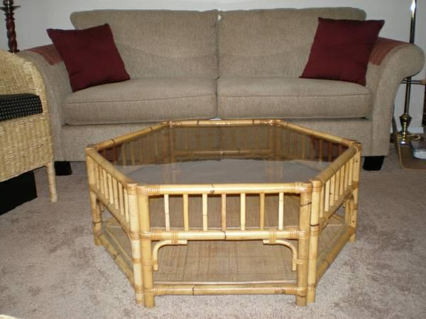 Bamboo Rattan Coffee Table With Platinum Glass Top For Sale In