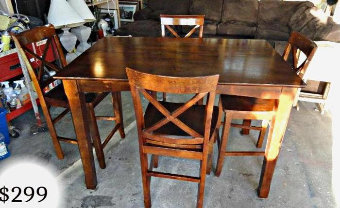 Bar Height Dinner Kitchen Pub Table W 4 Chair Stools