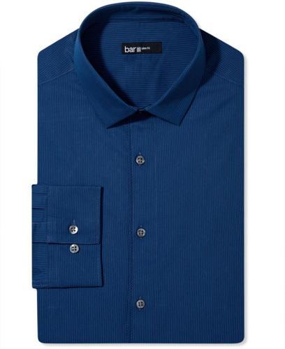 Bar iii dress shirt navy blue stripe long sleeved shirt for Navy blue striped long sleeve shirt