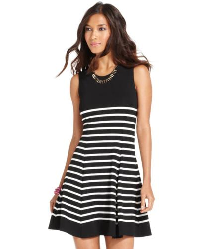 Bar Iii Dress Sleeveless Striped A Line For Sale In Belle