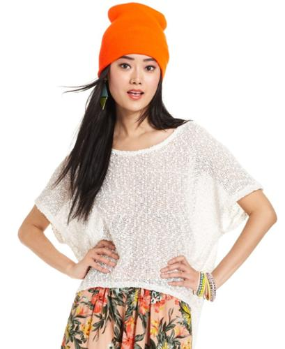 Bar III Top, Short-Sleeve Semi-Sheer Knit