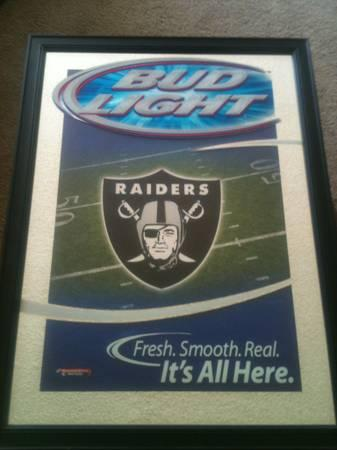 Bar Mirror and Tin Sign - Coors, Bud Light, Raiders - $10