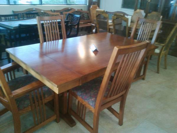 Basset mission style dining table with buffet for sale for Mission style dining table