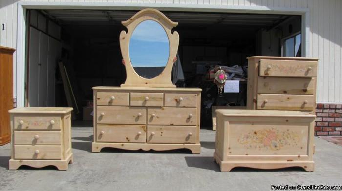 Beautiful 5 piece white-washed girls bedroom set. for Sale ...