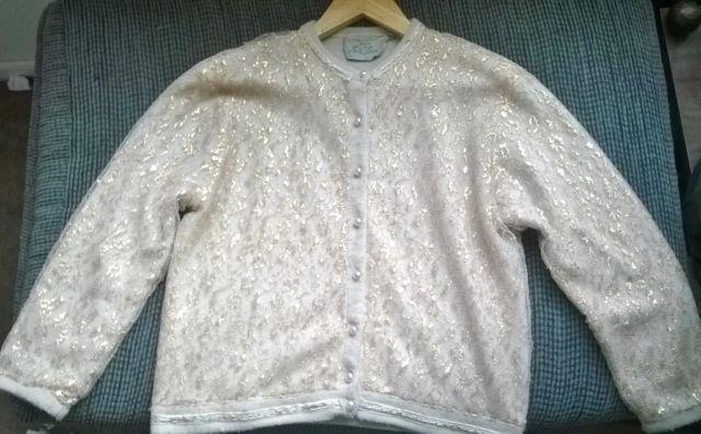 beautiful 50 s vintage pinup cardigan sweater with gold