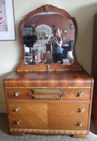 Beautiful Antique Art Deco Waterfall Dresser Amp Mirror