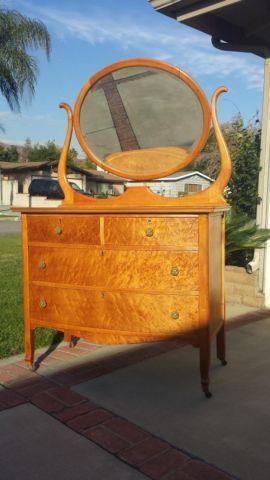 Beautiful Antique Birdseye Maple Dresser W Mirror For Sale