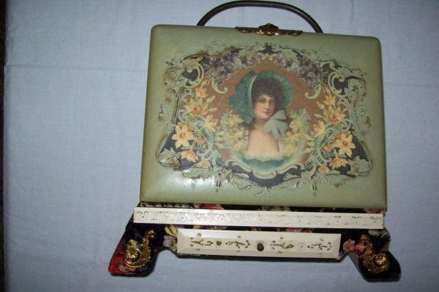 Beautiful Antique Victorian Photo Album On Stand For Sale In Fort