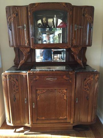 Beautiful Art Deco Display Case Carved Cabinet with Marble Counter