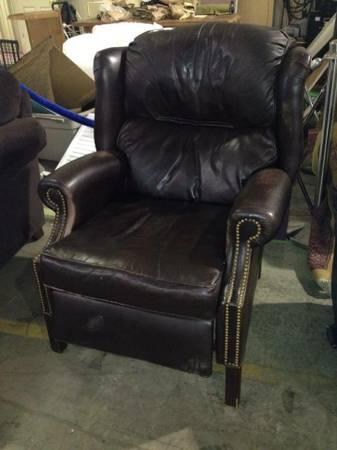 Beautiful Brown Leather Studded Recliner For Sale In Asheville, North  Carolina