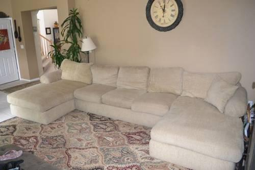 Beautiful Down Filled Sectional With 2 Chaise Lounge And