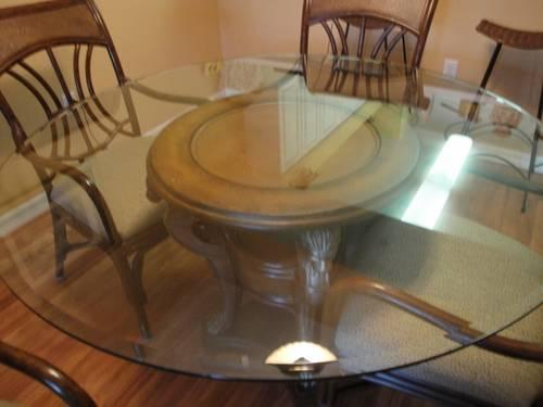 used dining room table for sale | Beautiful, Gently Used Dining Room Set. Glass Table + 6 ...