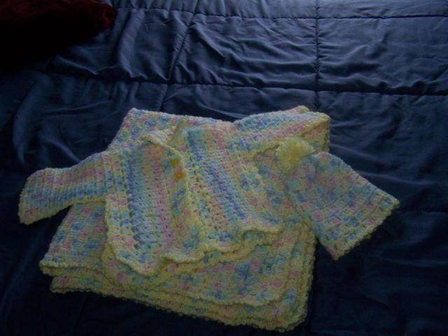 Beautiful Handmade Crocheted Baby Sweater Hat Blanket Set For