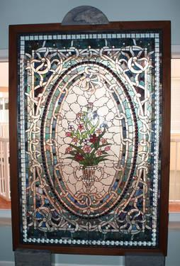 Beautiful Large Stained Glass Window - Floral Theme