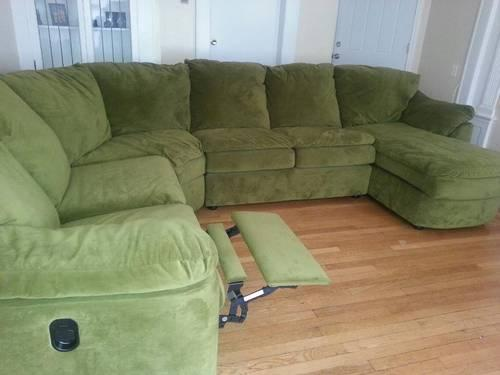 Beautiful Olive Green 3pc. Sectional With Recliner For Sale In Bridgeport, Connecticut