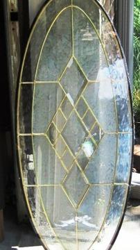 Beautiful Oval Stained Leaded Glass Door Insert For Sale