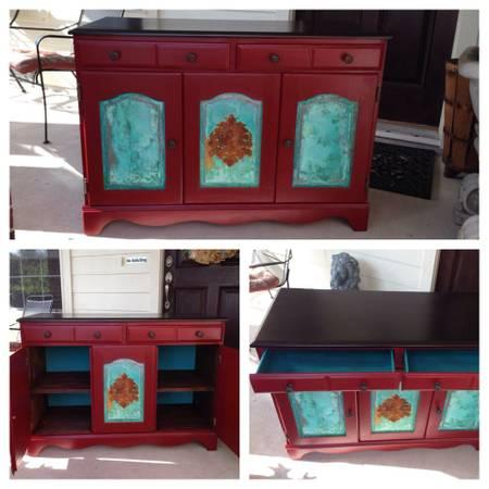 Beautiful red copper patina buffet media entry cabinet for Furniture 77429
