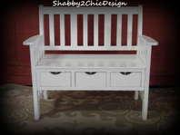 Beautiful Solid Wood White Distressed Bench With 3 Drawers