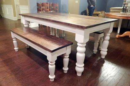 Beautiful Turned Chunky Leg Farm Table French Country