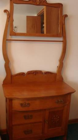 Beautiful Wood Antique Dry Sink Mirror Bedroom Furniture
