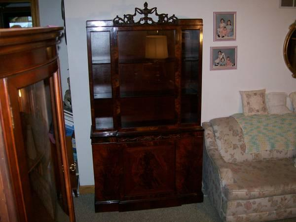 Beautifully Carved Antique Mahogany China Cabinet For Sale