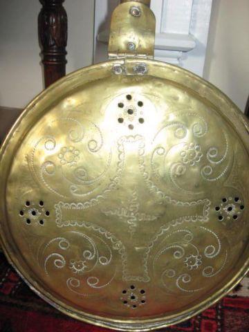 Bed Warmer, Brass, Wood handle, Vintage