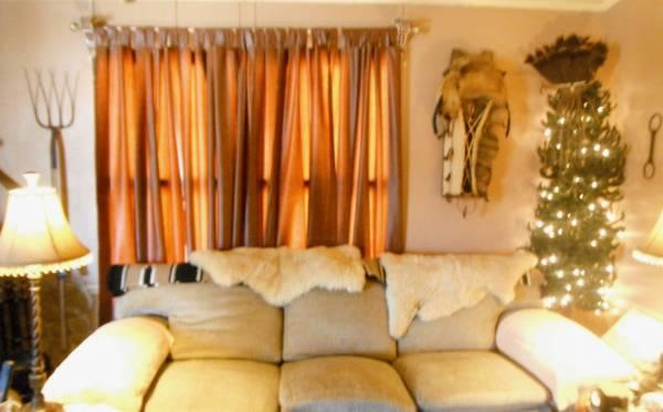 Beige Hurculon Over Stuffed Couch Huge Heavy For Sale