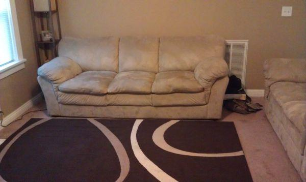 Beige suede couch and loveseat set stockton for sale in for Suede couches for sale