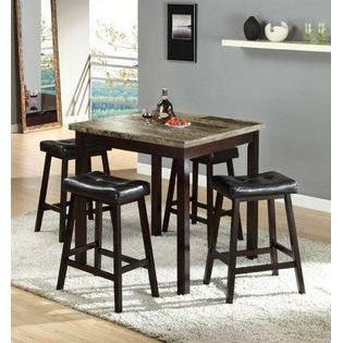 Bella Esprit 48450 07 Faux Marble Counter Height Dining