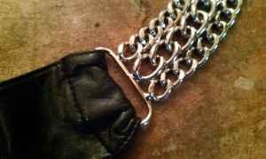 * Belt *Chrome ChainLink & Faux Black Leather *New - $5