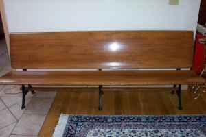 Bench 8ft Maple Folding School Church Iron Legs