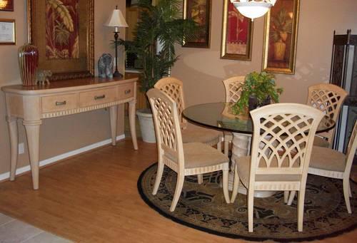 Bernhardt furniture wood glass top dining room set for Bernhardt furniture for sale
