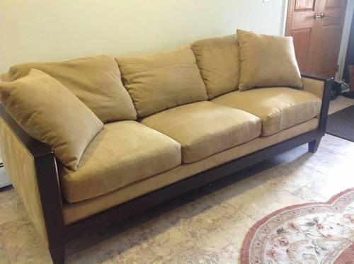 Bernhardt sofa microfiber beige sofa for sale in for Bernhardt furniture for sale