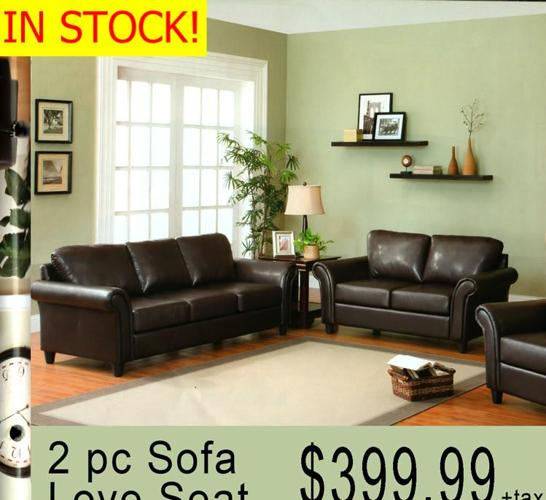 Bi Cast Leather Sofa Love Seat Brand New And In Stock Liquidation Wholesale Furniture