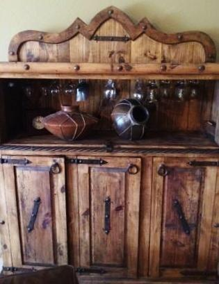Big Buffet Wine Cabinet Dry Bar Rustic Reclaimed
