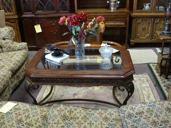 Big Coffee Table Wood Amp Metal Foundation Glass Top